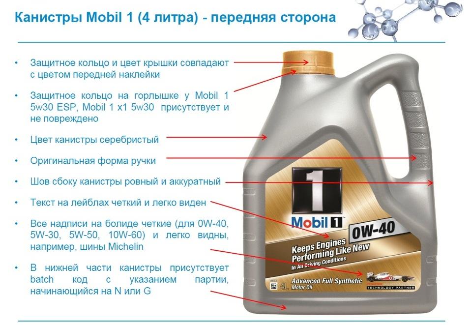 Отличия оригинального масла Mobil от поддельного